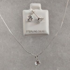 Jewelry - Genuine White Topaz Necklace and Earrings